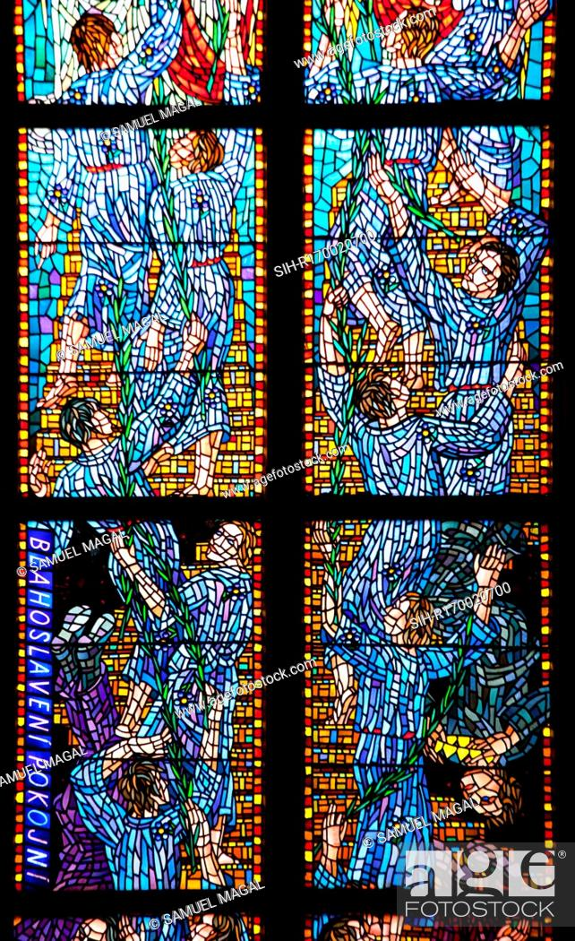 Stock Photo: Stained Glass window in the Chapel of St Agnes of Bohemia, at the St Vitus Cathedral, Prague, Czech Republic. The work is an allegory on the Beatitudes.