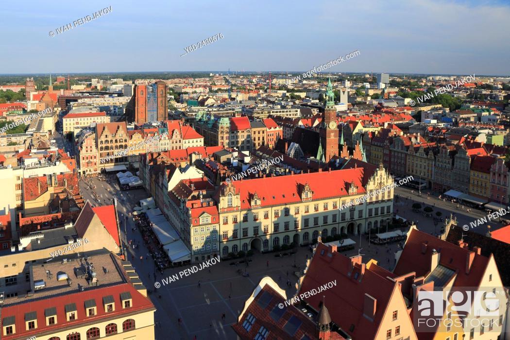 Stock Photo: View from St. Elizabeth's Church, Wroclaw, Poland.