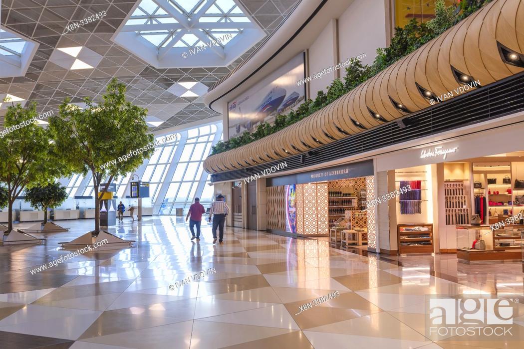 Stock Photo: Heydar Aliyev International airport interior, Baku, Azerbaijan.