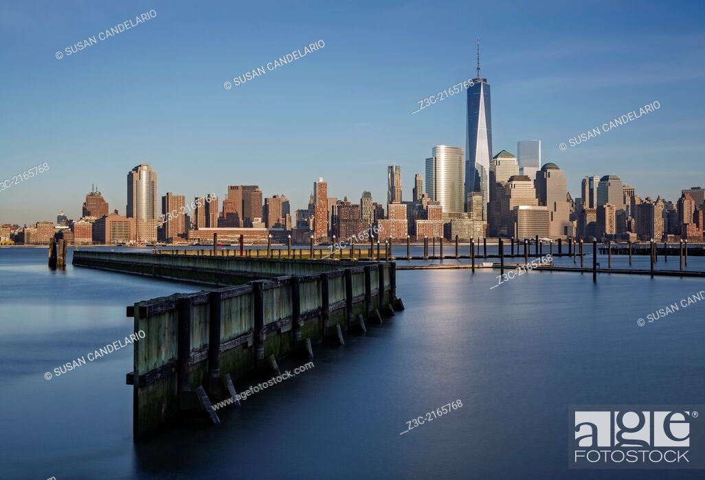 Stock Photo: New York City Financial District skyline with One World Trade Center commonly referred to as The Freedom Tower. As seen from across the Hudson River in New.