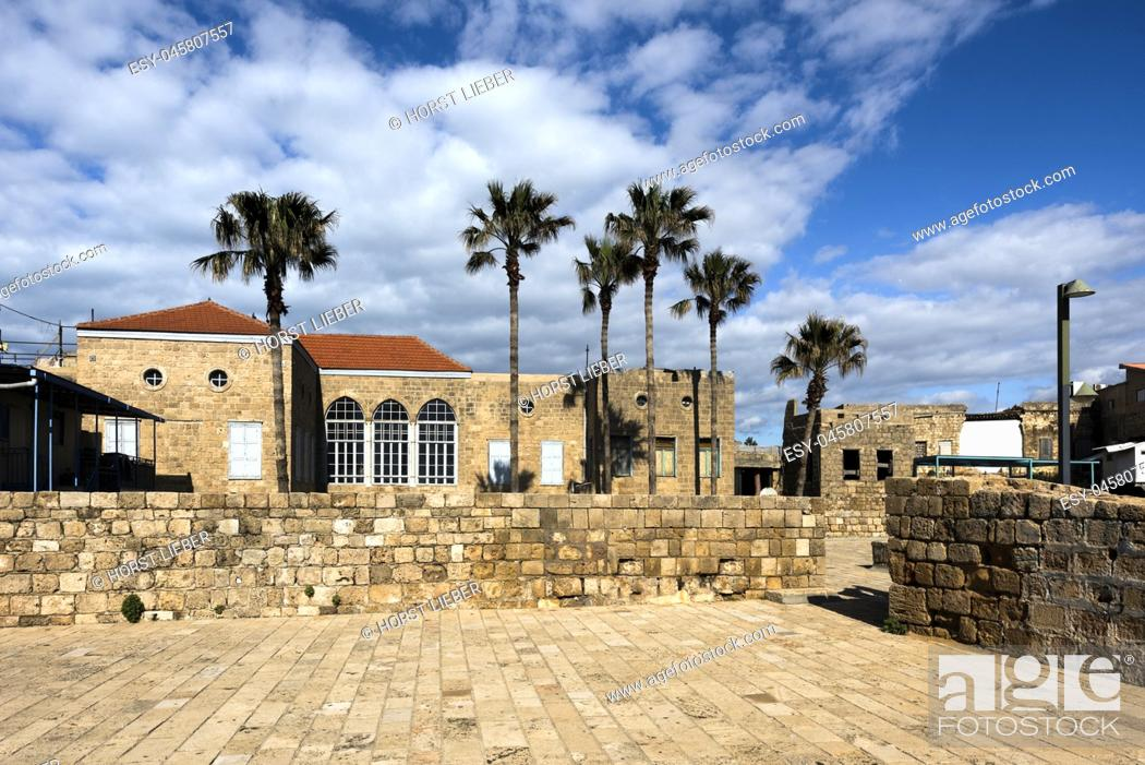 Stock Photo: On the fortification wall in Akko, Israel, Middle East.