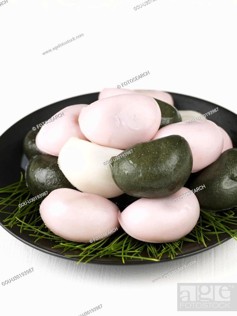 Stock Photo: rice cake, food, dessert, snack, cuisine, songpyeon.