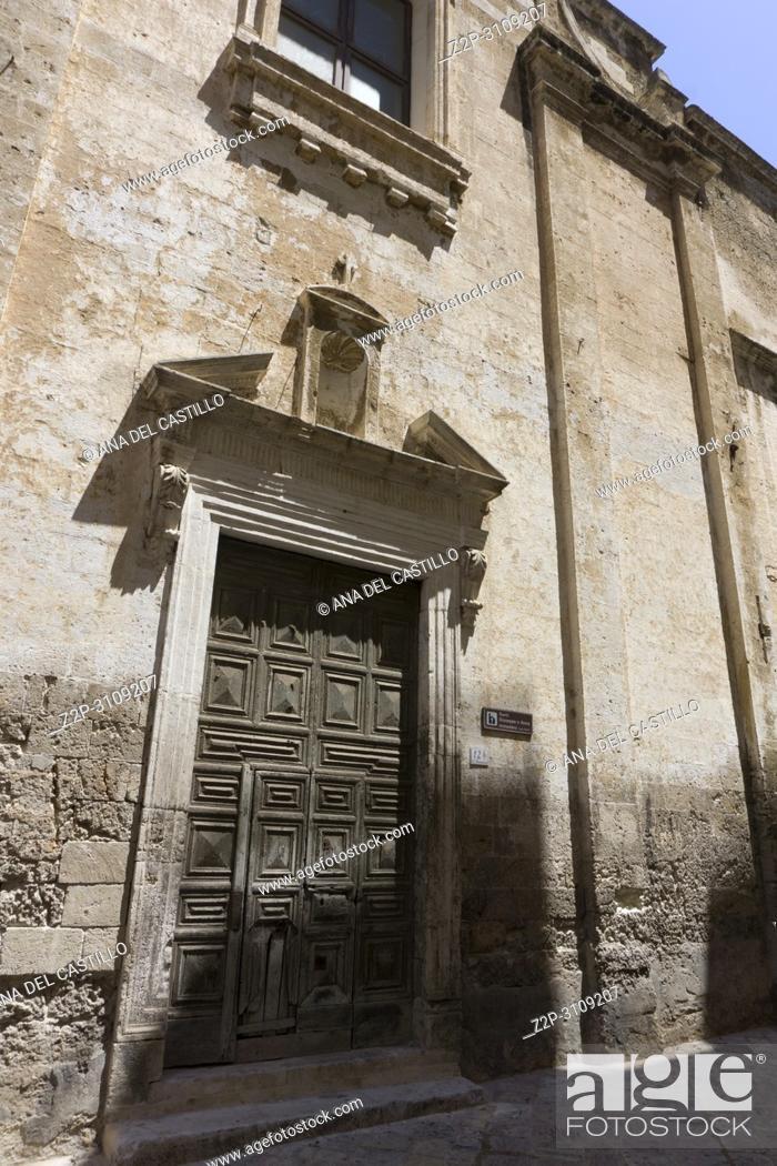 Stock Photo: Monopoli in Puglia, Italy.,Santi Giuseppe e Anna monastery door entrance.