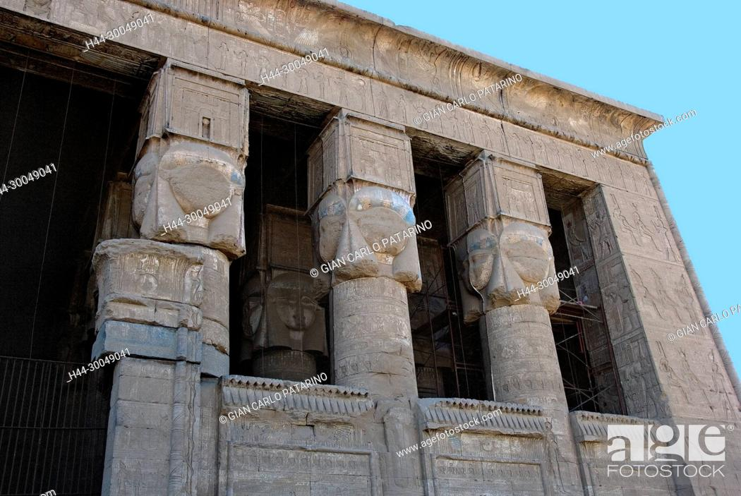 Stock Photo: Egypt,Dendera,Ptolemaic temple of the goddess Hathor.View of hypostyle hall from courtyard.