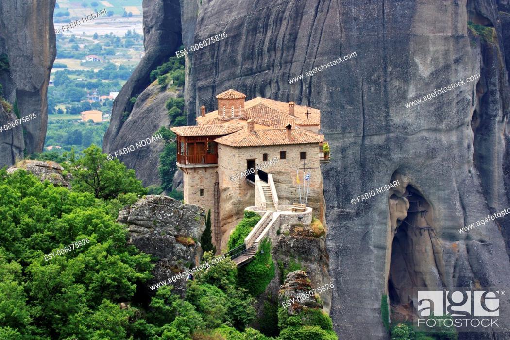 Stock Photo: Meteora monastery in greece.