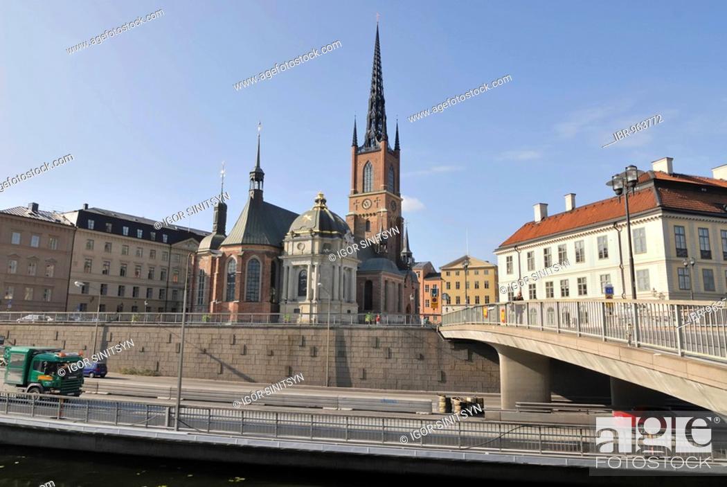 Stock Photo: View of Riddarholmskyrkan, Riddarholms church, on Riddarholmen Island, Stockholm, Sweden, Scandinavia, Europe.