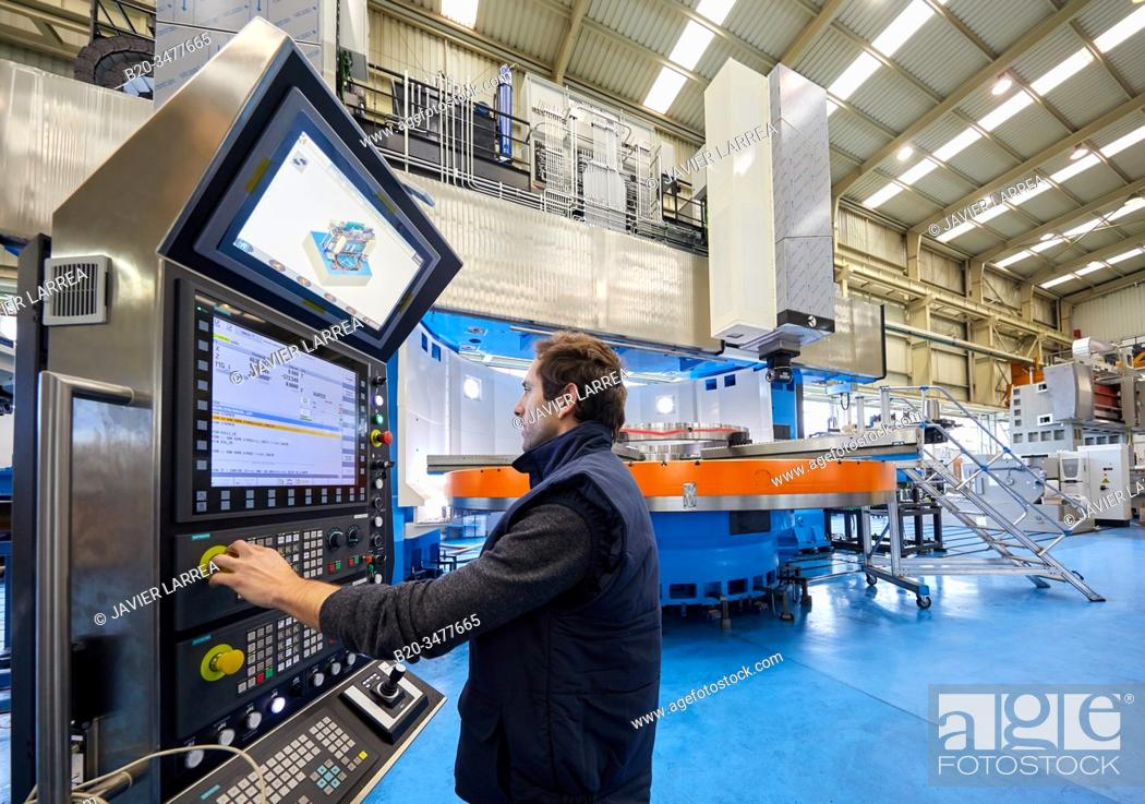 Photo de stock: Machining Centre, CNC, Vertical turning and Milling lathe. Design, manufacture and installation of machine tools, Metal industry, Mechanical workshop,.