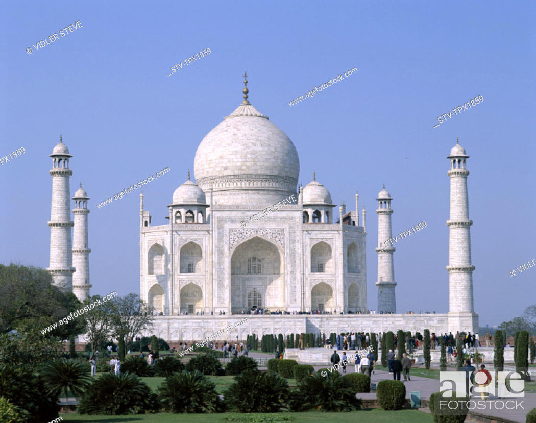 Stock Photo: Agra, Heritage, Holiday, India, Asia, Landmark, Taj mahal, Tourism, Travel, Unesco, Uttar pradesh, Vacation, World,.