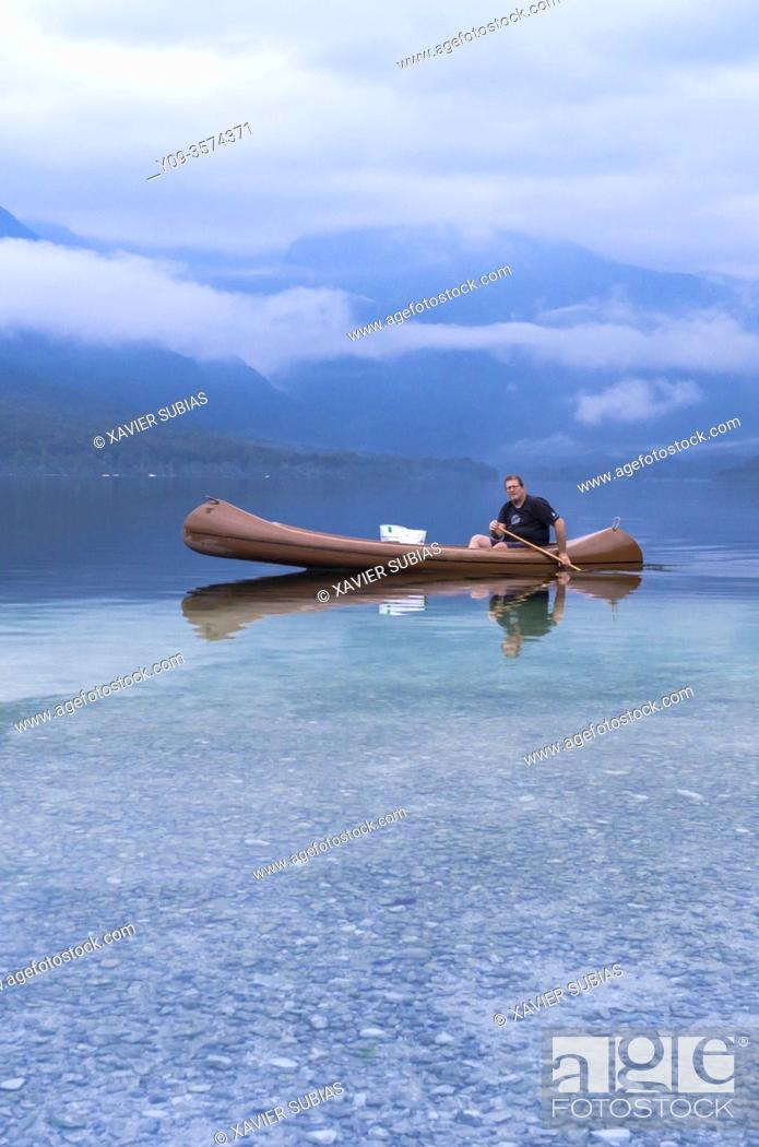 Stock Photo: Canoe, Lake Bohinj, Municipality of Bohinj, Triglav National Park, Slovenia.