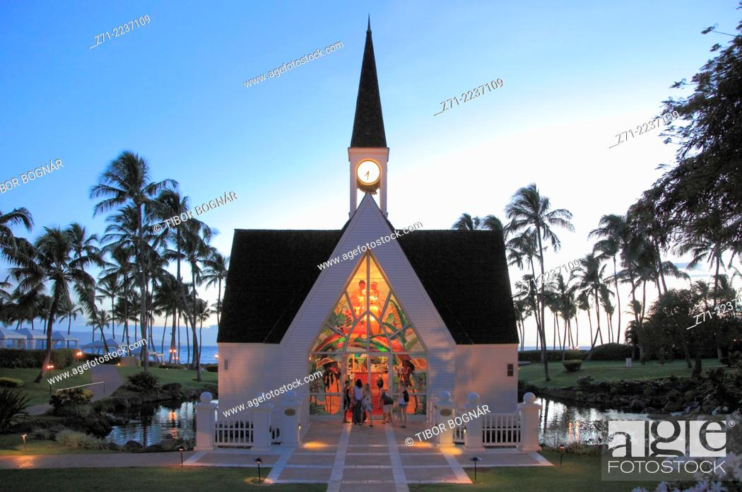 Stock Photo: Hawaii, Maui, Wailea, Grand Wailea Resort, chapel,.