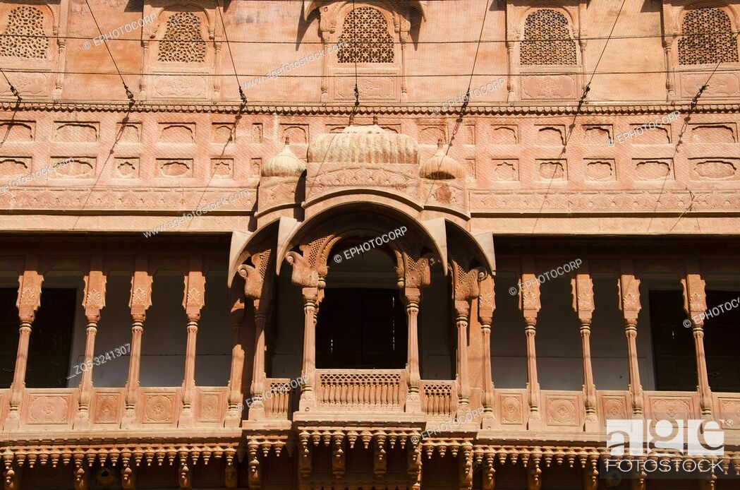 Stock Photo: Carving details of the balcony located at the Junagarh Fort, Bikaner, Rajasthan, India.