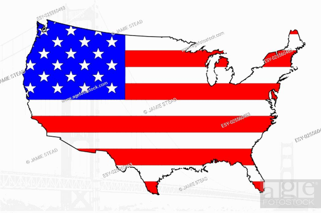 Imagen: Map of the USA with flag and bridge.