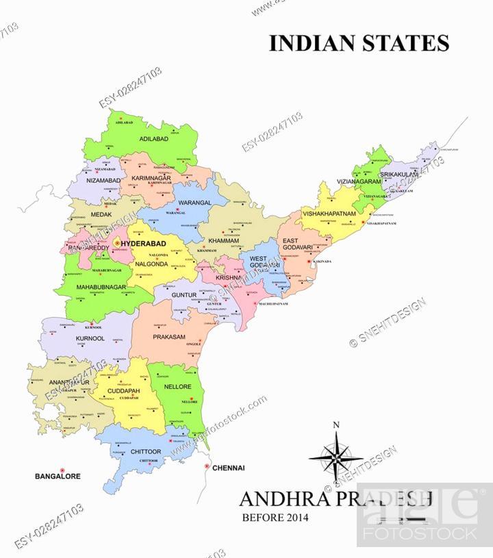 State of Andhra Pradesh map in India before Bifurcation, Stock Photo ...