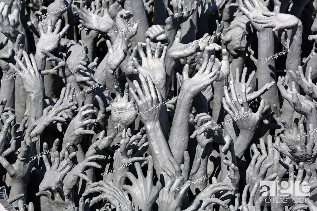 Stock Photo: Wat Rong Khun, The White Temple, Buddhist Temple, Chiang Rai, Thailand.
