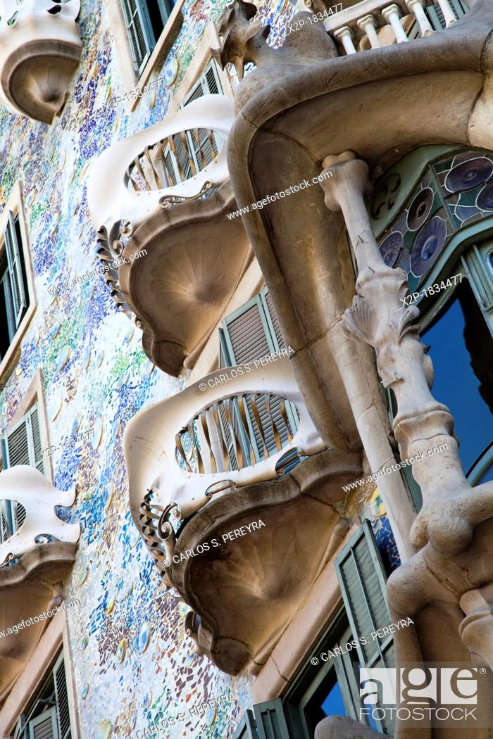 Stock Photo: Casa Batlló House, Gaudí, 1904-1906 at the Passeig de Gràcia, Barcelona, Catalonia, Spain.