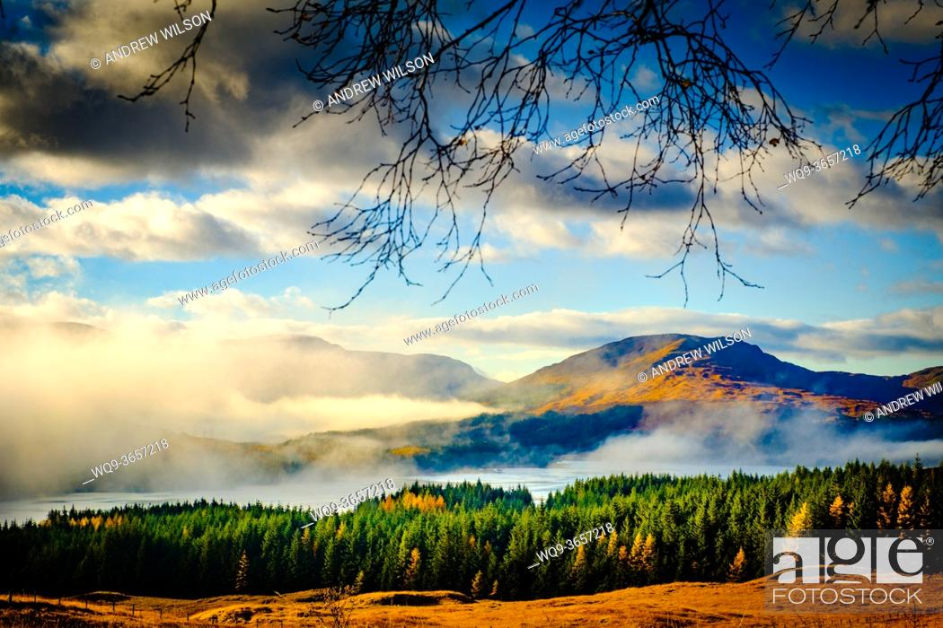 Stock Photo: Early morning light on Glen Orchy and Loch Tulla, Highlands of Scotland.