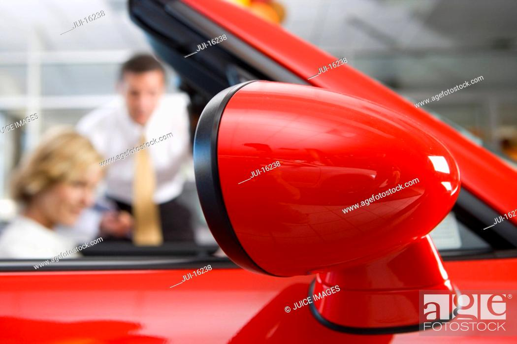 Stock Photo: Close up of car rear view mirror.