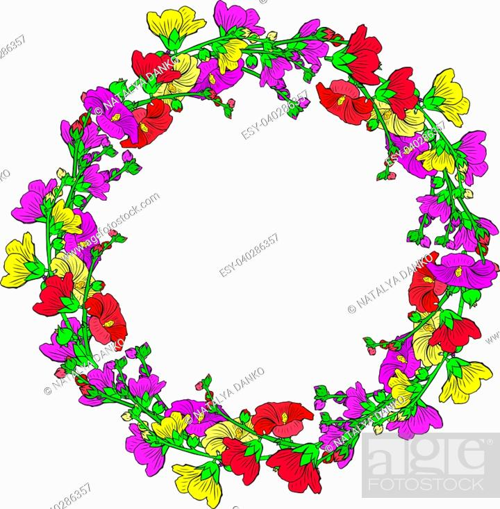 Stock Vector: round wreath of flowering branches with pink, red and yellow buds mallow isolated on white background, empty space in the middle.