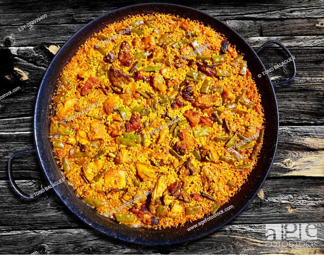 Photo de stock: Paella from Spain rice recipe from Mediterranean.