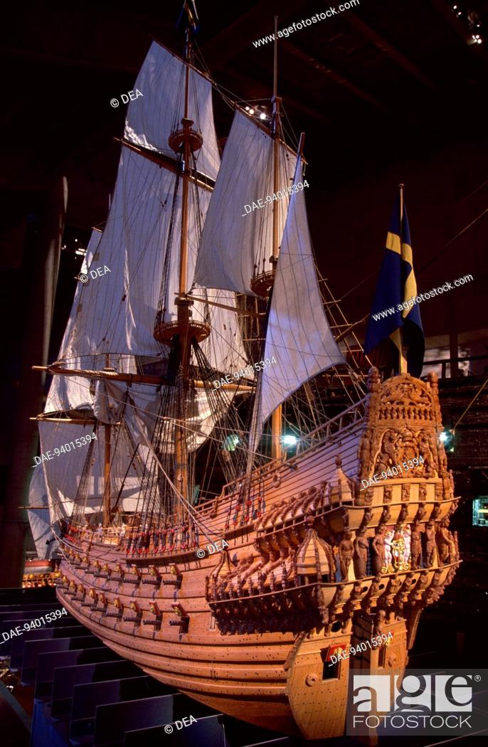 Stock Photo: A 17th century vessel, preserved in the Vasa Museum on the island of Djurgarden, Sweden, east of Stockholm.