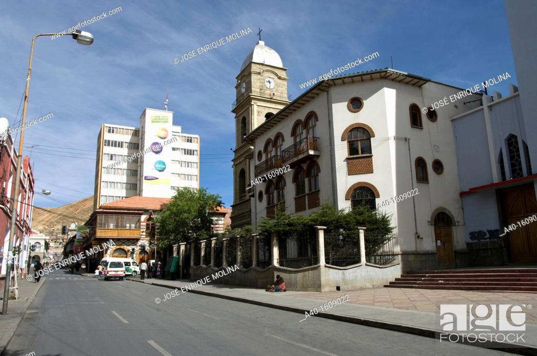 Stock Photo: Bolivia. Oruro city. The Cathedral and te city center.