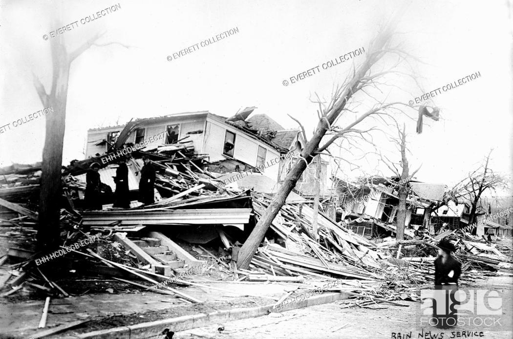 Stock Photo: Omaha, 25th Street, and Cass, after cyclone, Nebraska, circa 1900.