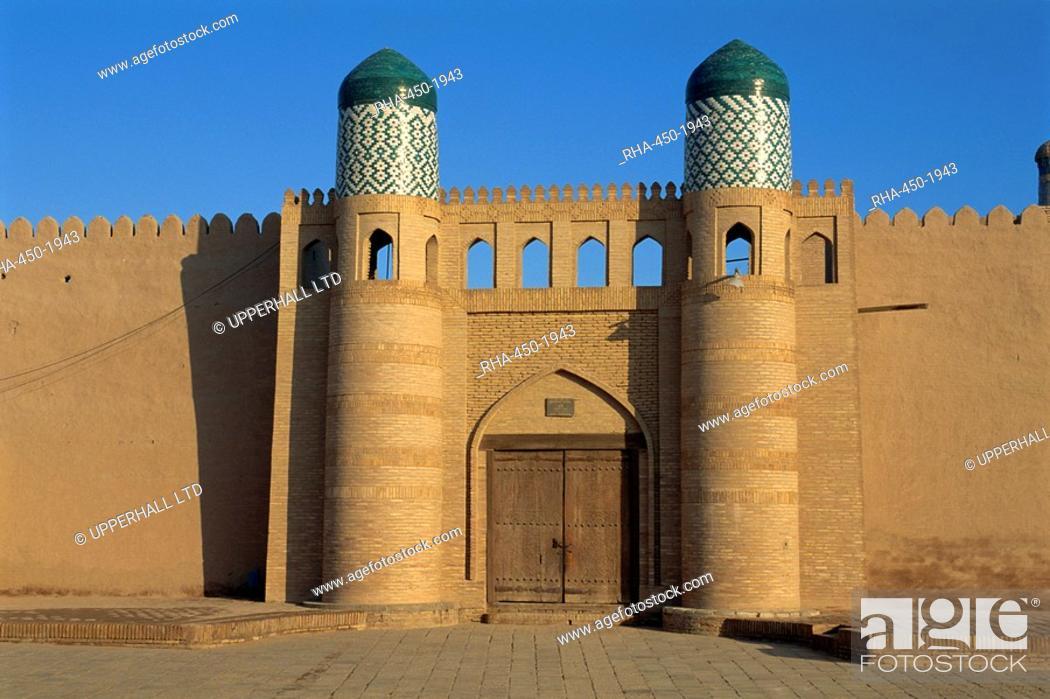 Stock Photo: Gate of the Kunya Ark, Khiva, Uzbekistan, Central Asia, Asia.