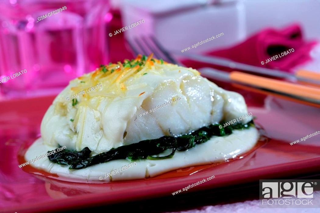 Stock Photo: Cod au gratin with honey and spinachs cream.