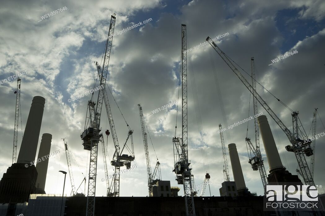 Stock Photo: Construction work at Battersea Power Station, with new apartments and offices being built, including Apple Macintosh UK HQ. London, England, UK.