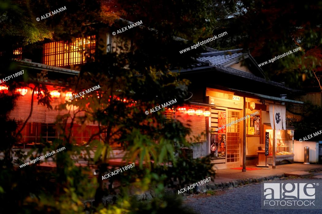 Isobe Traditional Japanese Restaurant Exterior With Lights And Lanterns Lit In Twilight Stock Photo Picture And Rights Managed Image Pic Acx Acp118987 Agefotostock