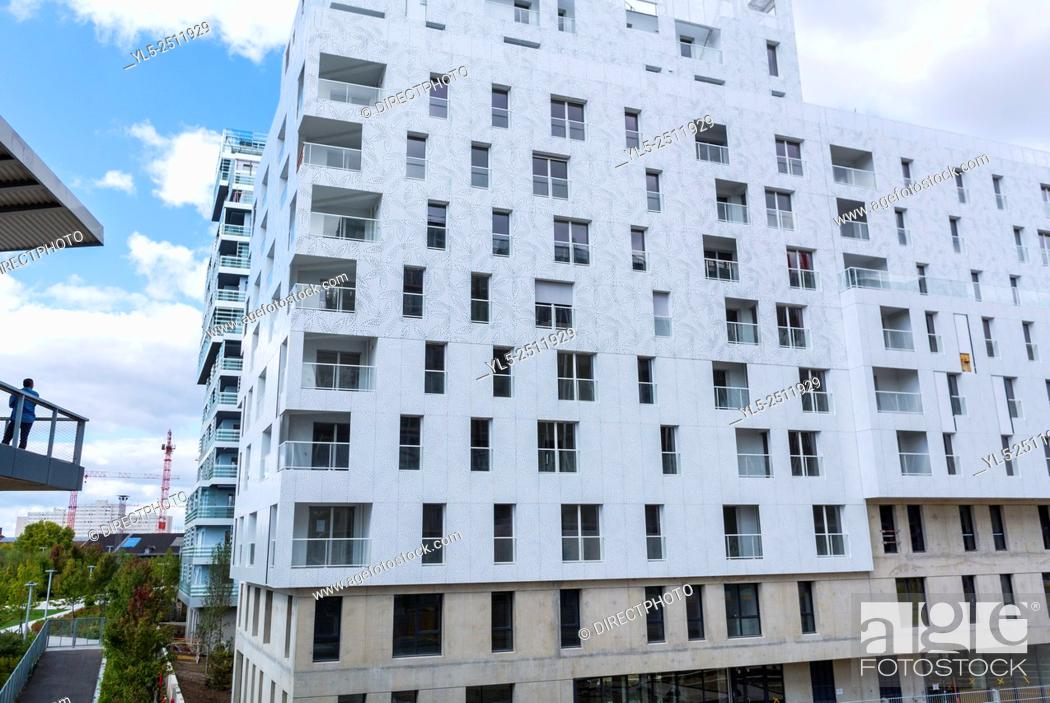Stock Photo: Paris, France, New Modern Architecture Project, Neighborhood, Eco-Quartier Clichy-Batignolles, Apartment Buildings.