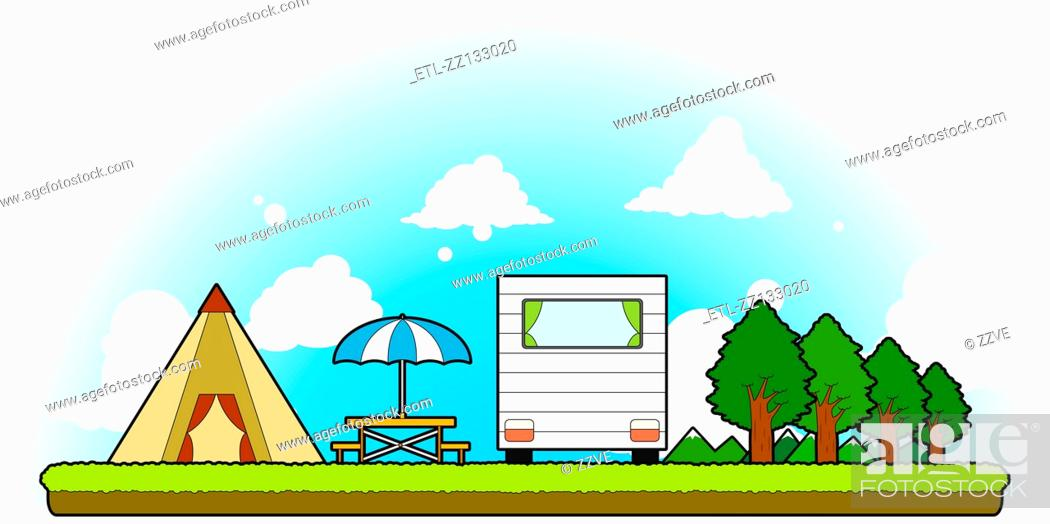 Stock Photo: Camping supplies.