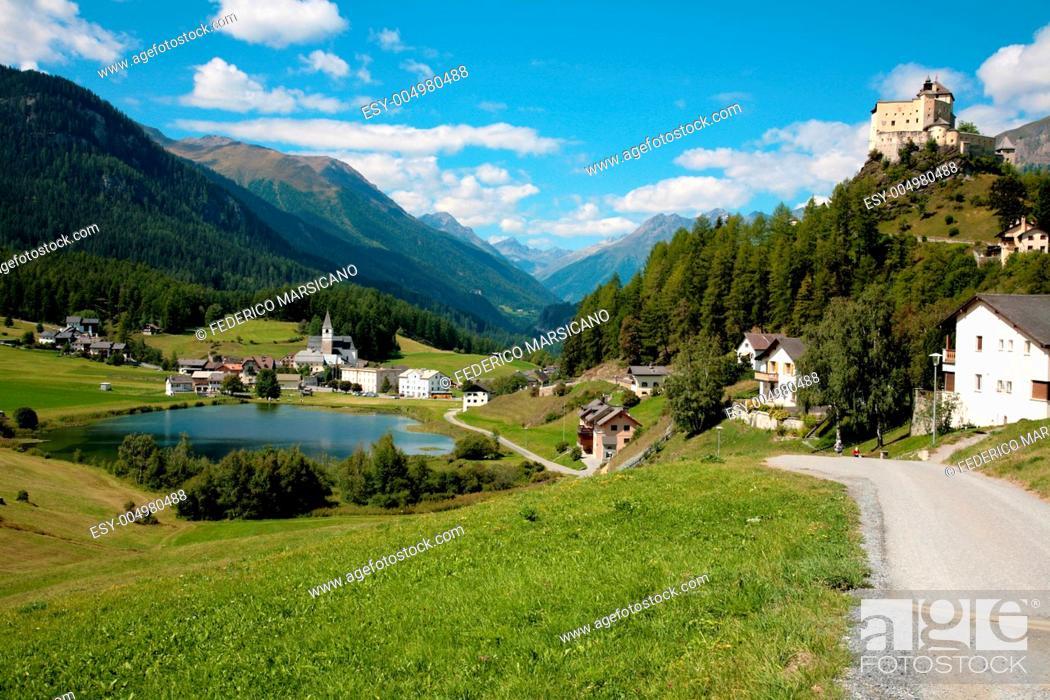 Stock Photo: Tarasp Swiss village in the summer.