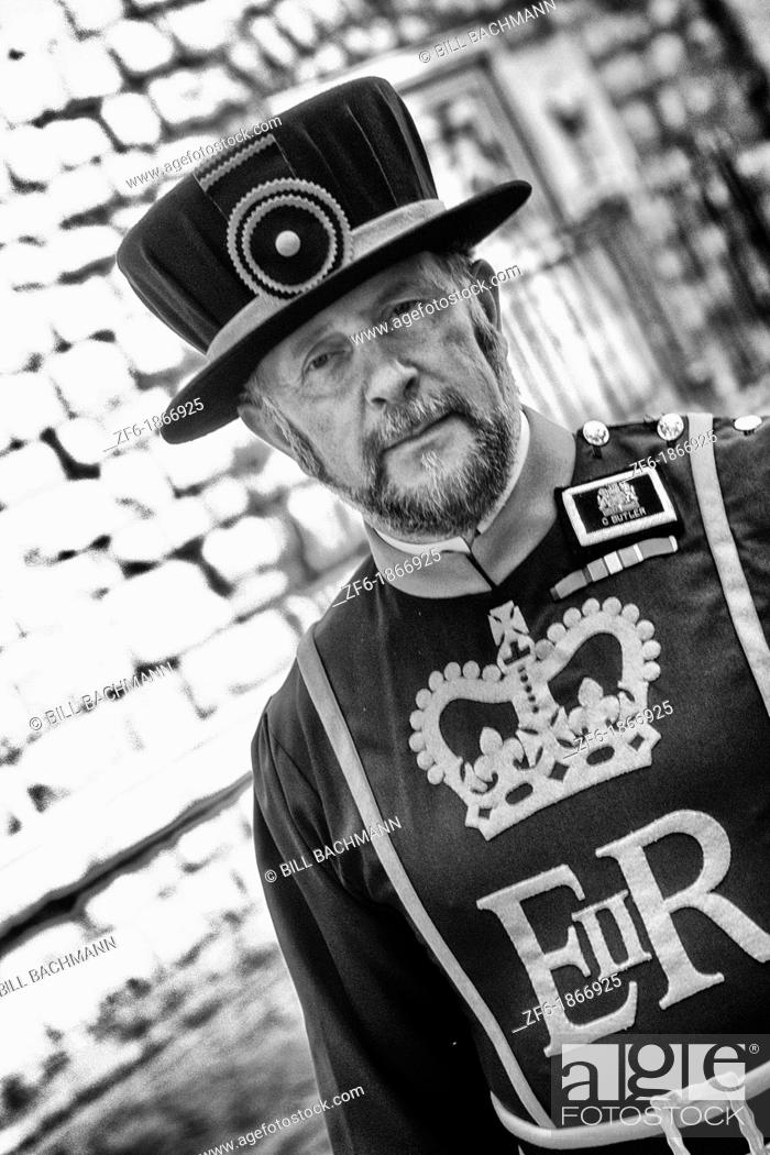 Stock Photo: Beefeater at the Tower of London in London England.