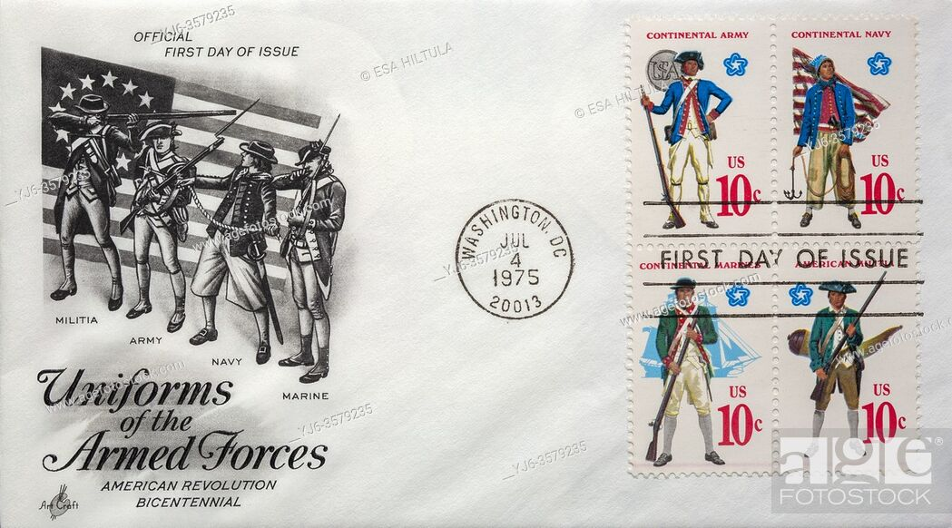 Stock Photo: US 1975 First day of issue letter cover.