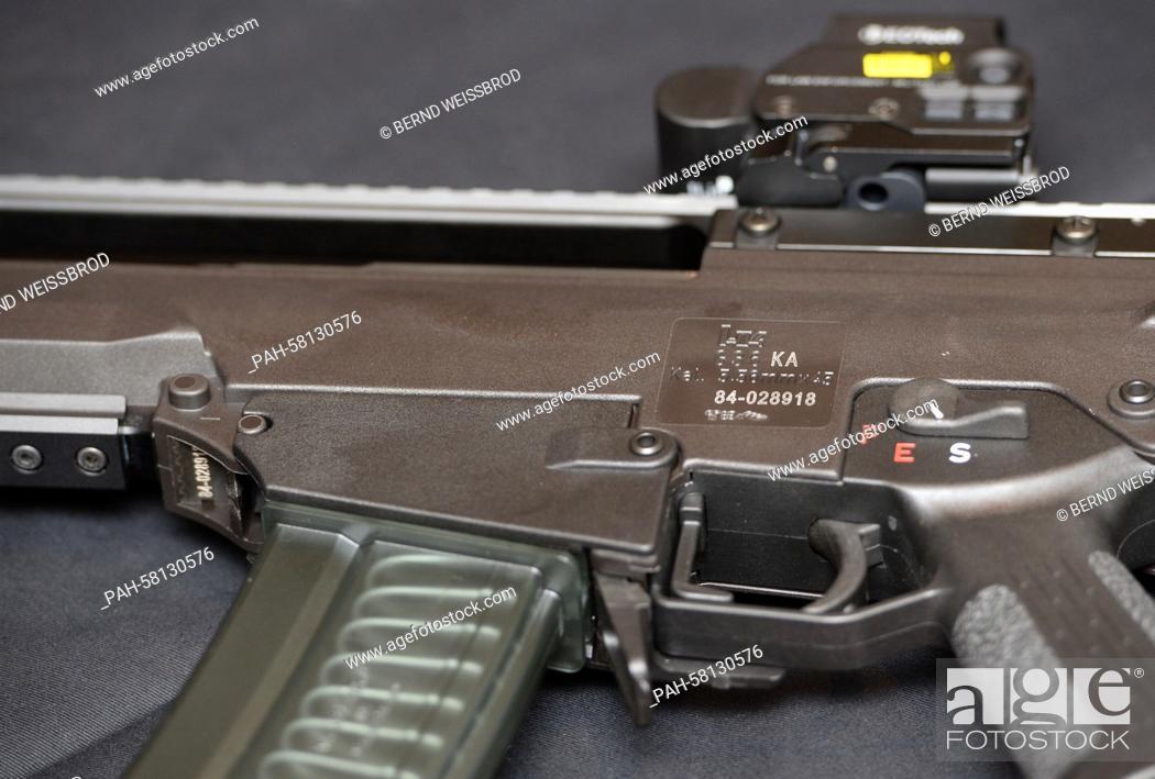 Part of a Heckler & Koch G36 assault rifle at the