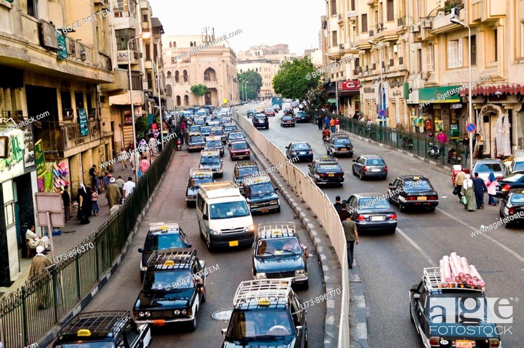 Stock Photo: Heavy traffic in Cairo, Egypt.