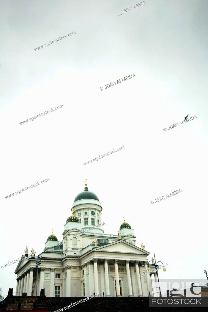 Stock Photo: Helsinki Cathedral on a winter day.