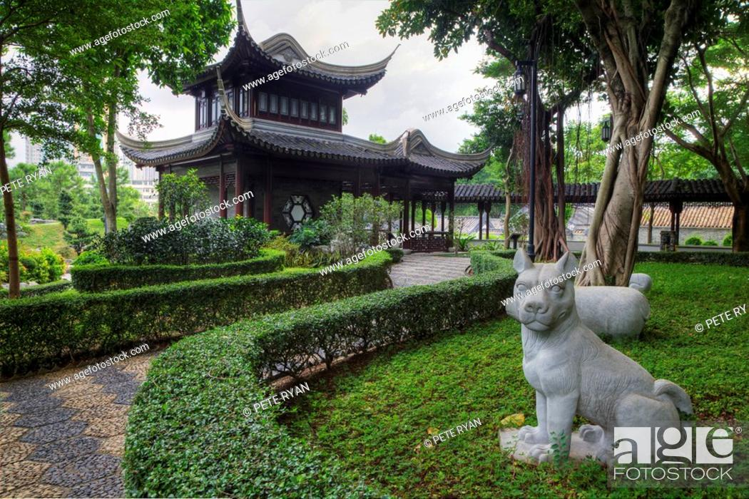 Stock Photo: A statue of a dog in The Garden of the Chinese Zodiac.
