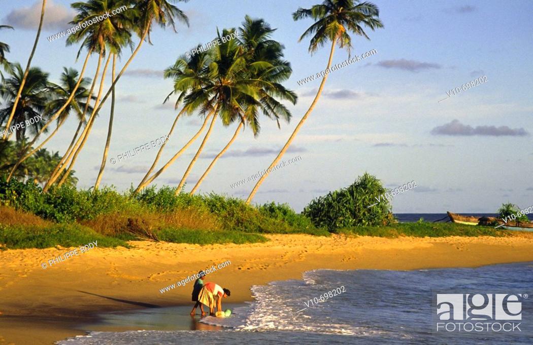 Stock Photo: Beach of Weligama, south coast, Sri Lanka.