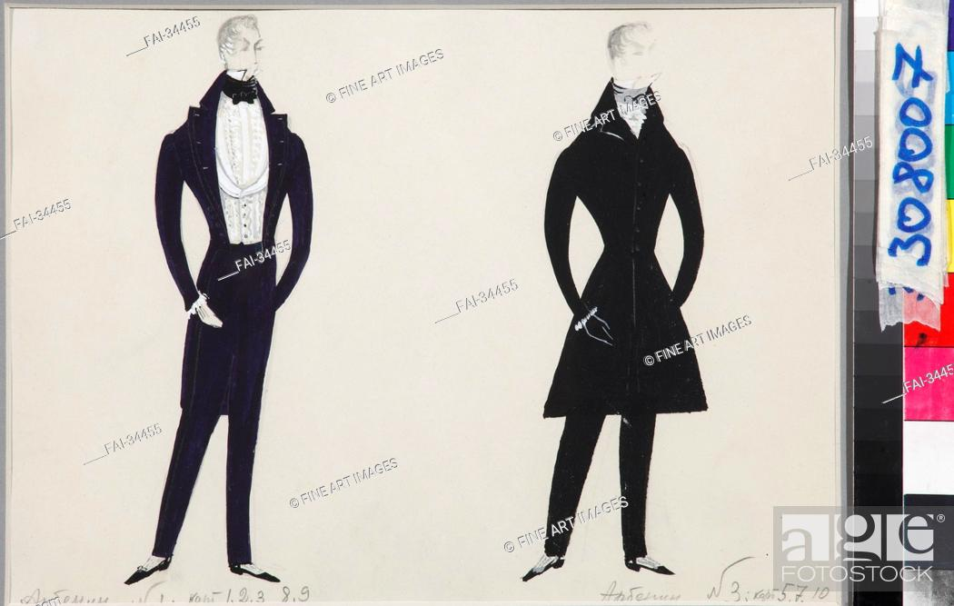 Stock Photo: Arbenin. Costume design for the play The Masquerade by M. Lermontov by Stenberg, Enar Georgievich (1929-2002)/Gouache on paper/Theatrical scenic.