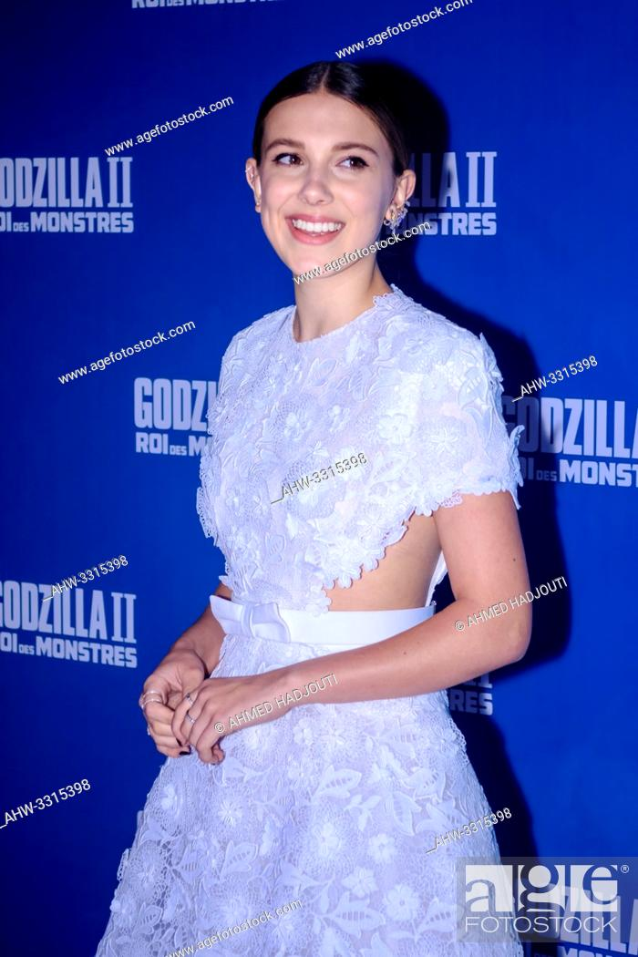 """Stock Photo: PARIS, FRANCE - May 26 : Actress Milie Bobby Brown attends the """"""""Godzilla II - Roi des Monstres"""""""" movie Premiere At Le Grand Rex on May 26, 2019 in Paris."""
