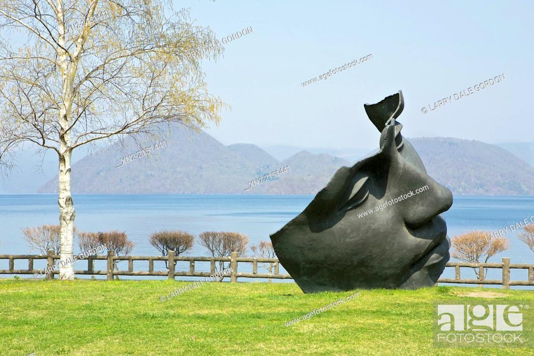 Stock Photo: Sculpture garden at Tokayo Lake, Toyako, Abuta, Hokkaido, Japan.