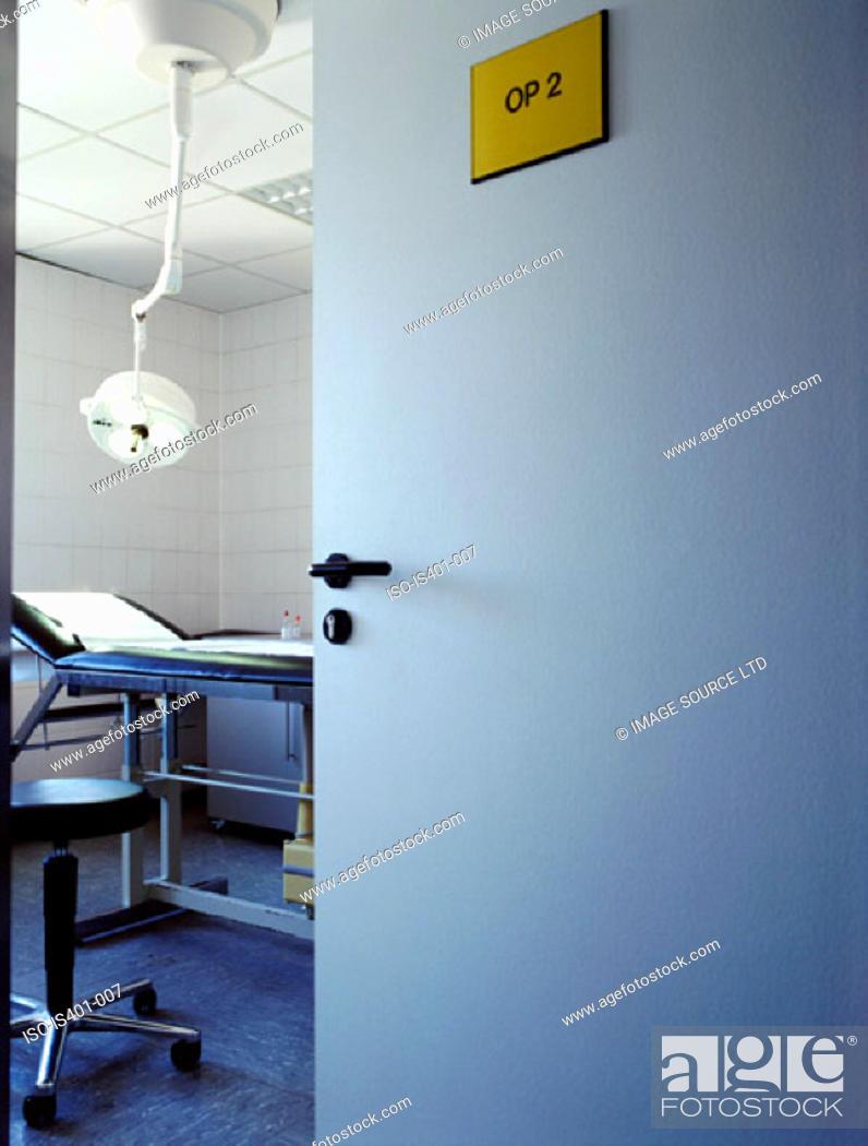 Stock Photo: Door leading to operating theatre.
