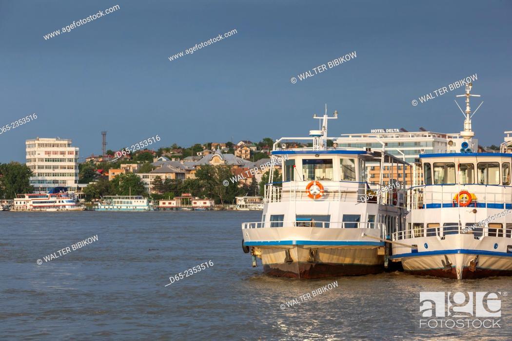 Stock Photo: Romania, Danube River Delta, Tulcea, Danube River waterfront.