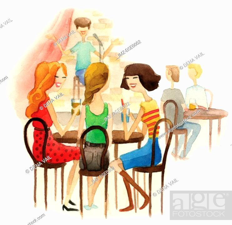 Stock Photo: A watercolor illustration of people at a comedy club.