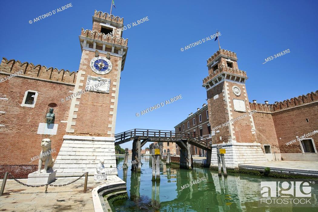 Imagen: The entrance of the Venetian Arsenale, a state-owned complex of former shipyards and armories. Campo De l'Arsenal. Venezia. Veneto. Italy.