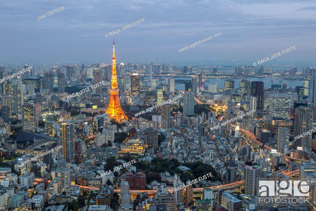 Imagen: City, Japan, Asia, Landscape, Roppongi Hills, Tokyo, Tokyo Tower, architecture, colourful, lights, minato-ku, no people, panorama, skyline, skyscrapers, evening.