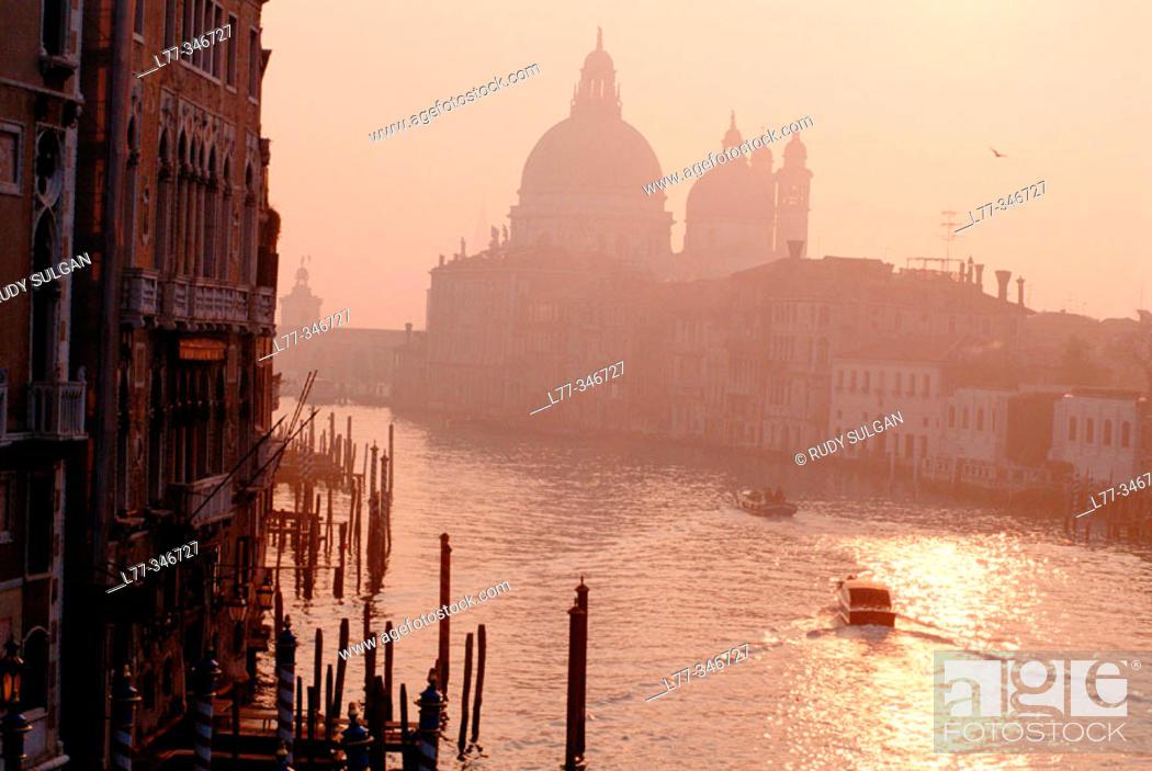 Stock Photo: Grand Canal and Santa Maria della Salute church in background. Venice. Veneto, Italy.