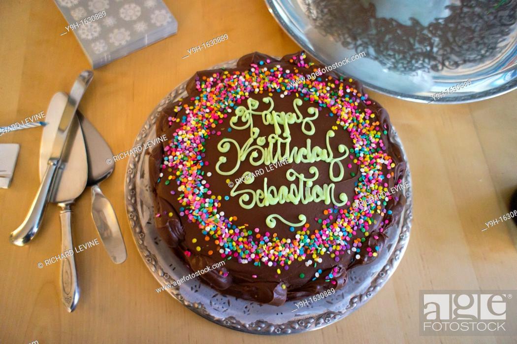 Enjoyable Birthday Cake For One Year Old Seen In New York Stock Photo Personalised Birthday Cards Vishlily Jamesorg